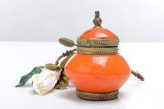 Tarro pequeño asiático vintage de color naranja por Brocantebcn