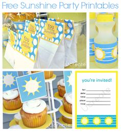 Sunshine Party Free Printables {party bag toppers, cupcake toppers, bottle wraps, and invitation}!