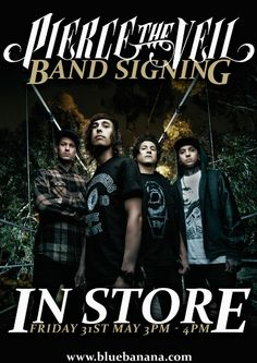 We are very pleased to announce that Pierce The Veil will be in our Sheffield store for an exclusive signing on Friday 31st May at 3pm.  The band will be in our Sheffield store from 3pm-4pm signing all of your band merch so make sure you head down and meet the band.  We have 90 lanyards that can be picked up from the Sheffield store. 10 more lanyards will be used in an online competition closer to the time so watch this space.