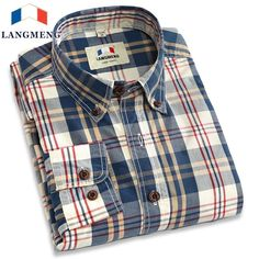 YUNY Men Classic Turn Down Collar Open Front Printed Long Sleeve Plaid Work Shirt Red 2XL