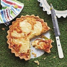 Leek and gruyère tart recipe. The gruyère cheese, sliced over the top of this tart, melts to a gorgeous gooey layer and its slight saltiness pairs wonderfully with sweet and tender leeks