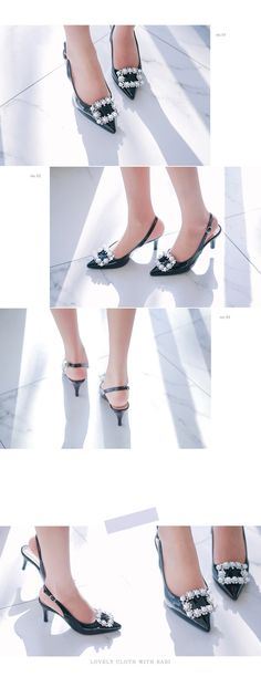 Pearl-Accented Glossy Slingback Pumps
