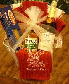 Bridal Shower Gift Basket w/embroidered dish towels.