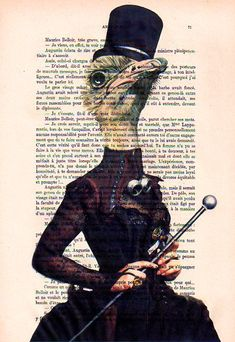 prints posters Mixed media Illustration Drawing painting acrylic digital Giclee, french vintage, paris: Steampunk Ostrich