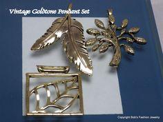 Vintage Gold Tone 3 Piece Pendant Set by BobsFashionJewelry on Etsy