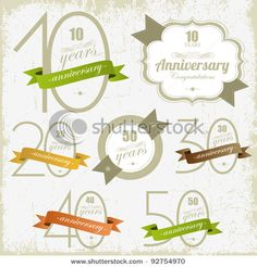 Stock Vector Illustration:  10, 20, 30, 40, 50 years anniversary signs and cards vector design