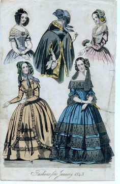 1850 Fashion | Fashions for January 1843