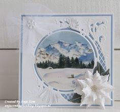 Handmade card by DT member Anja with Creatables Petra's Poinsettia (LR0435) and Anja's Circle XL (LR0445) from Marianne Design