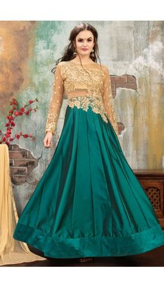 99d4702b42f  Diwali Beige And Green Taffeta Silk Anarkali Suit With Dupatta - DMV14906 Floor  Length Anarkali