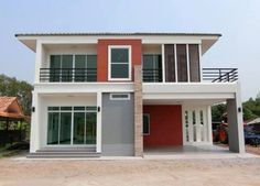 Two Storey House on 149 Square meters Floor Area - House And Decors Modern Style Homes, Modern Bungalow, Bungalow House Design, Small House Design, Modern House Design, Double Storey House Plans, One Storey House, One Floor House Plans, Duplex House Plans