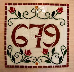 Número de mosaico para casa                                                                                                                                                                                 Mais Mosaic Art, Mosaic Glass, Stained Glass, House Plaques, Mosaic Madness, Glass Artwork, Mosaic Patterns, House Numbers, Sheep