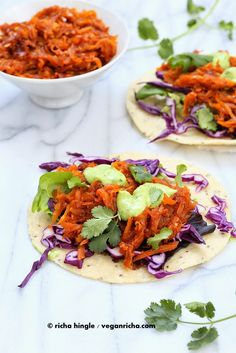 These Pulled Butternut Squash Tacos are fabulous for fall. Shredded Squash cooked with traditional Chipotle Sauce, served with crunchy slaw Veggie Recipes, Gluten Free Recipes, Mexican Food Recipes, Whole Food Recipes, Vegetarian Recipes, Cooking Recipes, Healthy Recipes, Dinner Recipes, Sandwiches
