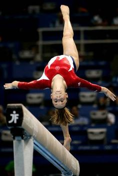 and they gymnastics is easy. you try landing on a 4in wide object after a flip or a jump not just a spring floor