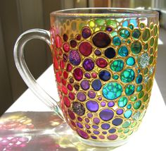 Hand painted Sun catcher Coffee Mug, Multi Coloured Bubbles Mug, Painted Glass cup by ArtMasha on Etsy https://www.etsy.com/listing/201646296/hand-painted-sun-catcher-coffee-mug