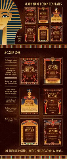 Egyptian Backgrounds and Frames by wingsart on Creative Market