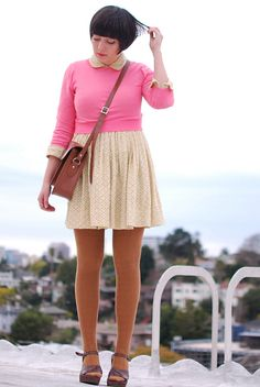 pink cropped pullover with pretty short peter pan collar dress and tights