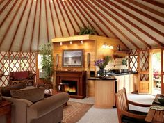 Interior view of a Pacific Yurt model home