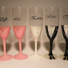 painted chaNDELIER WEDDING FLUTES | Wedding bridal party glasses Hand Painted Champagne flutes