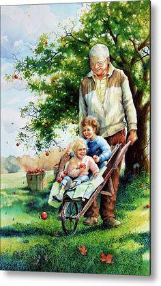 Precious- Cargo by Hanne Lore Koehler ~ children ~ grandpa ~ apples ~ wheelbarrow Grands Parents, Grandchildren, Illustrations, Illustration Art, Creation Photo, Grandma And Grandpa, Norman Rockwell, Sports Art, Wheelbarrow