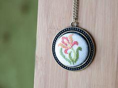 Cross stitch pendant necklace - Iris Flower - Orange with Antique Brass Setting, 38 mm (1.5inch) Round