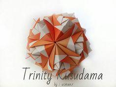 Trinity kusudama Design : usman.r Paper : 5x15cm (1:3) x 30 unit. #kusudama #origamikusudama #origami #origamiart #paperfolding #papercraft #pa by letsfolding