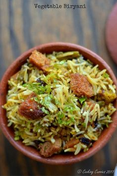 Vegetable Biryani - www.cookingcurries.com Biryani is the king of all rice recipes and this Vegetable Biryani has mixed vegetables and basmati rice, all cooked down in a medley of spices! Seriously, the best thing ever!