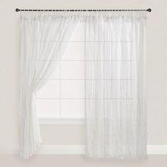 One of my favorite discoveries at WorldMarket.com: White Crinkle Sheer Voile Cotton Curtains, Set of 2