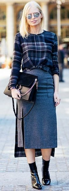 Printed sweater, midi skirt, and ankle boots. | Outfit Formulas That Always Look Expensive | WhoWhatWear UK