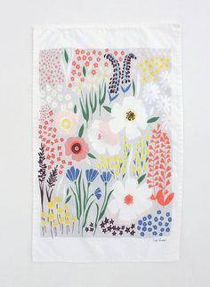 I would so frame this tea towel - gorgeous! Grey Floral Dishtowel. $20.00, via Etsy. Lisa Rupp design -