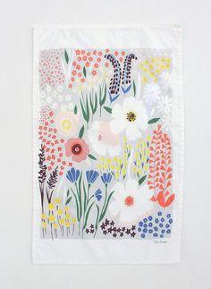 Grey Floral Dishtowel by lisaruppdesign on Etsy, $20.00