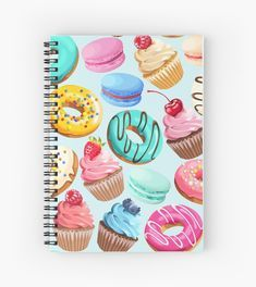 'Colorful Retro Donuts' Spiral Notebook by newburyboutique Cute Notebooks For School, Cute Spiral Notebooks, Cool Notebooks, Journals, Diy Notebook Cover, Writing Notebook, Bullet Journal Accessories, Cute Diary, Sketchbook Cover