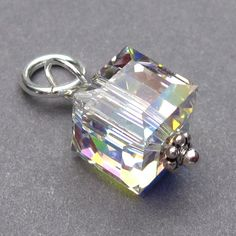 Swarovski AB Crystal 8mm Cube Wire Wrapped Bead Dangles Birthstone Charms Interchangeable Earring Components by TheDangleDiva on Etsy