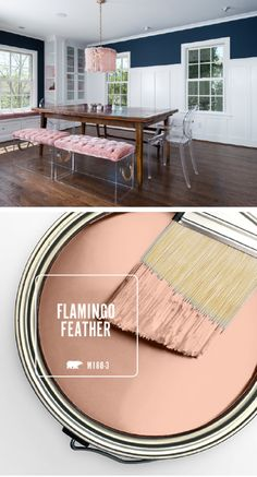 Breathe new life into the interior design of your home with a little help from BEHR's Color of the Month: Flamingo Feather. Try using this light blush shade as an accent color in contrasting color palettes, like navy and white. Click here to see more inspirational home decor ideas from BEHR.