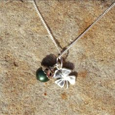 Lucky 4 Leaf Clover and Pearl Charm Necklace by BrownEyedGirlSB, $25.00