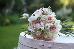vintage bridal bouquet blush pink green white | roses white lisianthus white freesias gypsophila and snippets of white ...