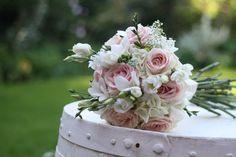 vintage bridal bouquet blush pink green white | roses white lisianthus white freesias gypsophila and snippets of white ...