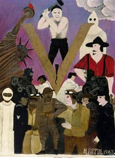Horace Pippin, Mr. Prejudice, 1943. Oil on canvas, 18 x 14″ (Image courtesy of The Philadelphia Museum of Art. Gift of Dr. and Mrs. Matthew Moore)    Read more about the art, life, and legacy of Horace Pippin at Gwarlingo: http://www.gwarlingo.com/2013/horace-pippin/