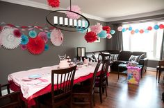 red, pink and aqua girls birthday party