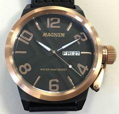 Magnum Men's Black & Rose Gold Watch - Quartz Black Leather Band 48MM #Magnum
