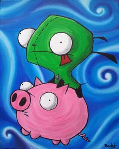 The Owlodactyl's nest: Invader Zim GIR and Piggy acrylic painting