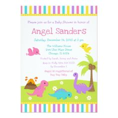 Cute dinosaurs blue baby shower postcard boy gifts gift ideas cute dinosaurs pink baby shower card invitations custom unique diy personalize occasions negle Images