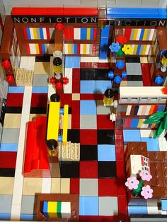 Interior shot Pages Bookstore located on Lego Boulevard.