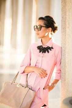 Sunny in Pink :: Shirtdress  Blush bag