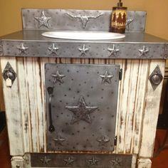 Vanity can be custom built to any measurement, color and image.    www.rusticranchinteriors.com