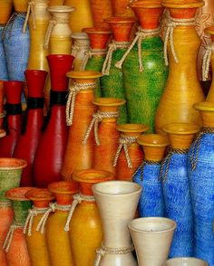 colorful pottery display