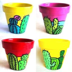 Fun cactus pattern to paint on pots. Fun cactus pattern to paint on pots. Flower Pot Art, Flower Pot Design, Flower Pot Crafts, Clay Pot Crafts, Cactus Flower, Painted Plant Pots, Painted Flower Pots, Pots D'argile, Decorated Flower Pots