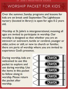 Summer worship packets that follow the flow of worship