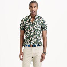 J.Crew Secret Wash Short-Sleeve Shirt in Faded Indigo Floral