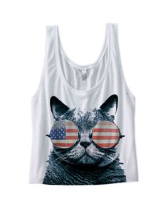 USA KITTEN CROP TOP AMERICAN FLAG CAT WEARING GLASSES GREAT GIFTS JULY 4TH SHIRTS COOL KITTY CAT SHIRTS FUNNY SHIRTS HOLIDAY SHIRTS [CAT USA GLASSES]  Color: White, Grey Sizes: xs-XL (Anything 2X & over requires additional pricing)   PLEASE READ:   Made with 100% cotton. Digitally printed ...