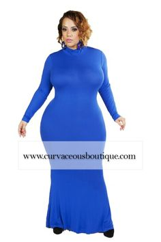 ROYAL BLUE LALA TURTLENECK MAXI DRESS   (( MODEL WEARING 1X))  SIZE  1X  2X  3X     COLORS : BLACK  WINE  ROYAL BLUE     WWW.CURVACEOUSBOUTIQUE.COM & IN STORE    ❎VISIT THE WEBSITE FOR ALL DETAILS and PRICE ❎    WE SHIP WORLDWIDE